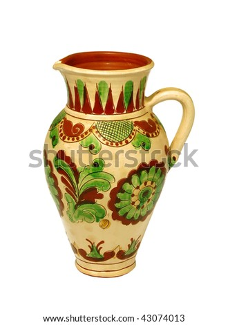 ceramic jug with ornament isolated on white background