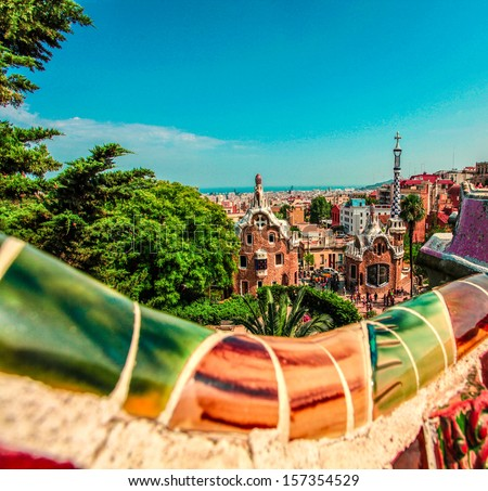 Ceramic mosaic Park Guell in Barcelona, Spain. Park Guell is the famous architectural town art designed by Antoni Gaudi and built in the years 1900 to 1914 - stock photo