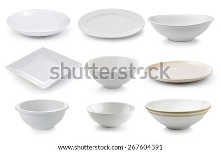 ceramics plate and bowl isolated on white background - stock photo