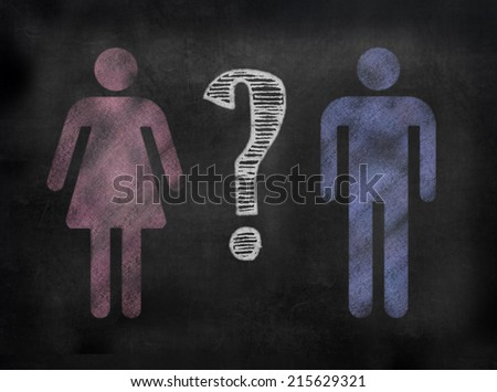 chalkboard sign in illustrative chalkboard style Female and male symbols with question mark - stock photo