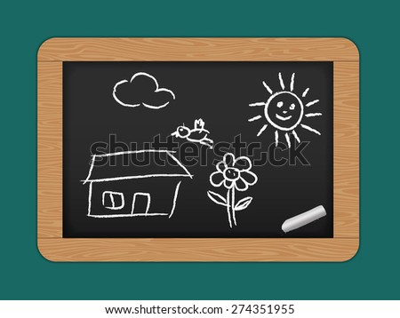 Chalkboard with wooden frame and kids style drawing - stock photo
