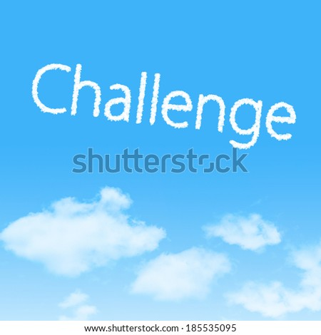 Challenge cloud icon with design on blue sky background - stock photo