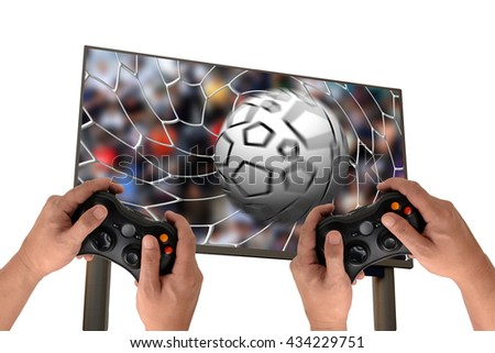 challenge play game with a joystick isolated on white - stock photo