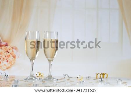 champagne flutes  - stock photo