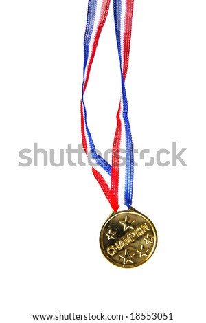 """champion"" gold medal isolated on white background"