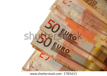 50-50 chance in... euro bills (isolated) - stock photo
