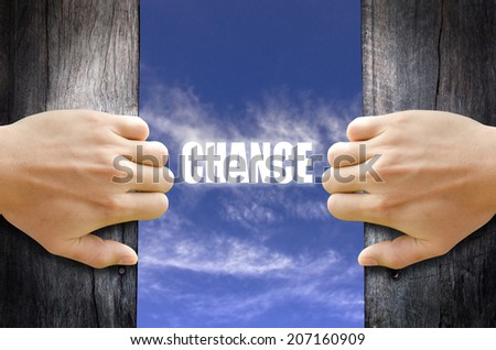 """CHANCE"" text in the sky behind 2 hands opening the wooden door. - stock photo"