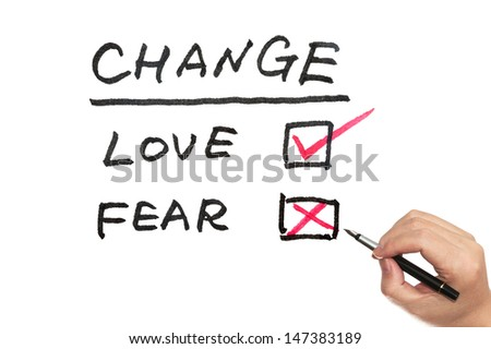"""Change, love or fear"" concept words written on white board"