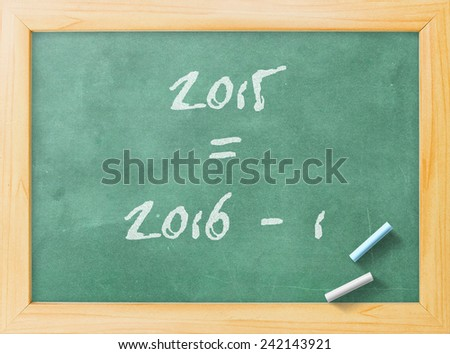 2015-2016 change represents the new year 2015. Green board display 2015 = 2016 - 1. - stock photo