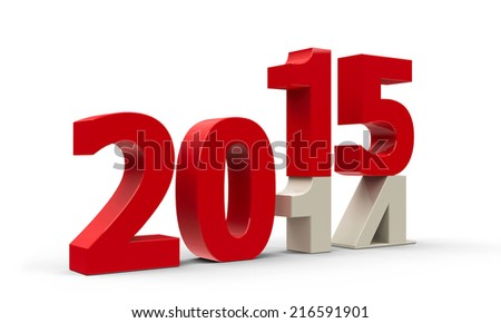 2014-2015 change represents the new year 2015, three-dimensional rendering - stock photo