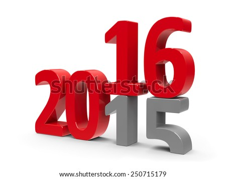 2015-2016 change represents the new year 2016, three-dimensional rendering - stock photo
