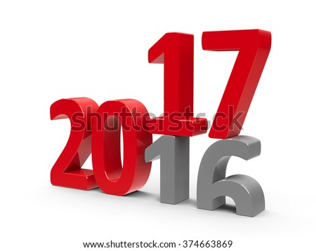 2016-2017 change represents the new year 2017, three-dimensional rendering - stock photo