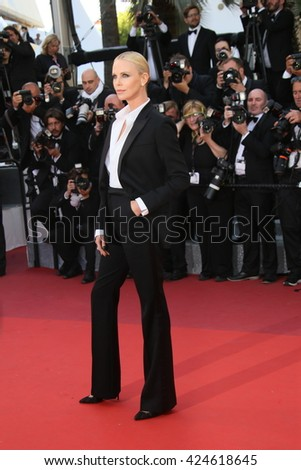 Charlize Theron attends 'The Last Face' Premiere during the 69th annual Cannes Film Festival at the Palais des Festivals on May 20, 2016 in Cannes, France. - stock photo