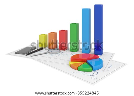 Charts Financial Analysis isolated with pen, phone and magnifying glass
