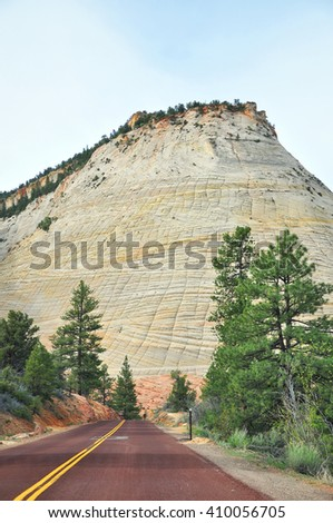 Checkboard Mesa, Zion National Park. Utah, USA - stock photo