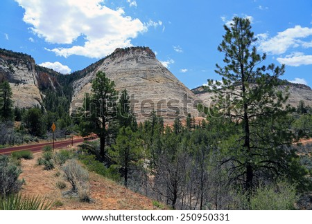 Checkerboard Mesa in Zion National Park, Utah, USA. - stock photo