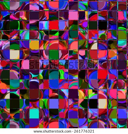Checkered background with rows of colorful  grunge striped square elements  - stock photo
