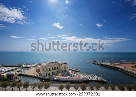 Checkered floor in city square. Livorno, Tuscany, Italy.  - stock photo
