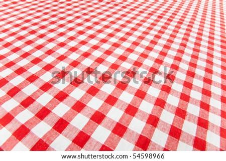 checkered tablecloth - stock photo