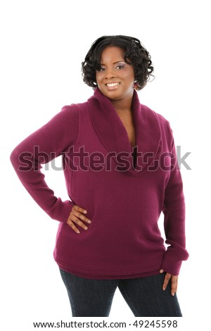 Cheerful Young African American Woman Portrait on White Background Isolated - stock photo