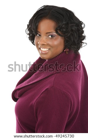 Cheerful Young African American Woman Portrait on White Background Isolated