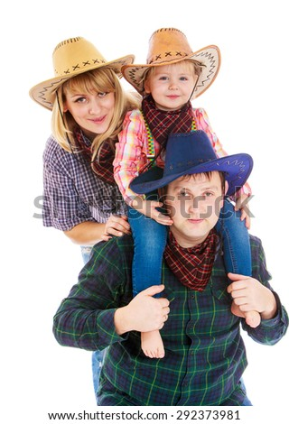 Cheerful young cowboy family in hats, mom dad and little daughter sitting on the neck of the Pope- isolated on white background