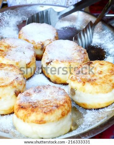cheese pancakes, dessert, breakfast - stock photo
