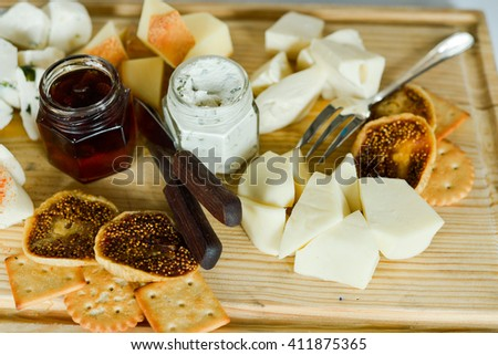 cheese plate with dried fruits