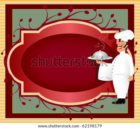 Chef with label(also available vector version of this image - stock photo