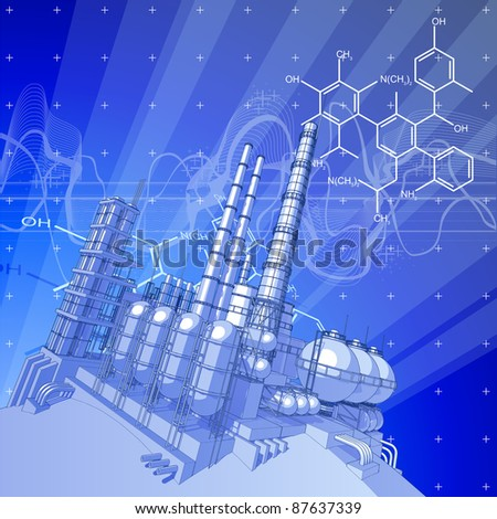 Chemical plant & blue technology background. Bitmap copy my vector ID 27138505 - stock photo