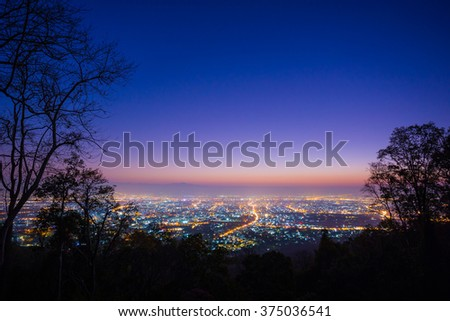 Chiang mai city  Thailand , Landscape view and Twilight scene  , View from Doi Suthep scenic point , Ching mai city is most popular place of traveler to visiting - stock photo