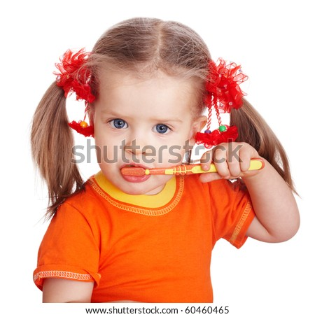 Child girl clean brush teeth. Isolated. - stock photo