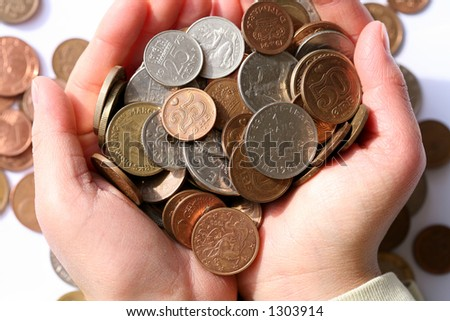 child holding   money in hands - stock photo