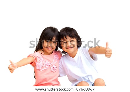 2 Child Making thumbs up with a Smile, Isolate on white background - stock photo