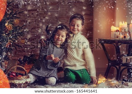 children and Christmas story - stock photo