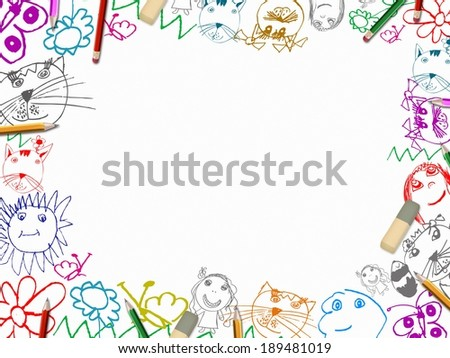 children's drawings with pencils frame background isolated on white - stock photo