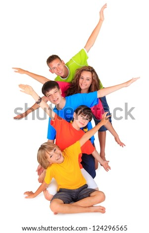 Children with outstretched arms - stock photo