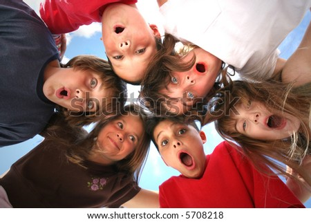 6 Children With Surprised Look on Their Faces - stock photo