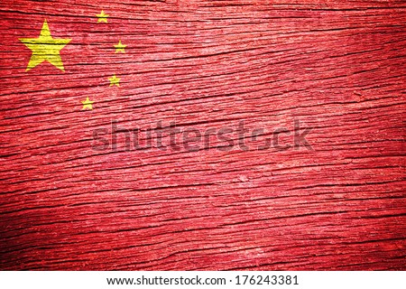 china flag painted on old wood background  - stock photo