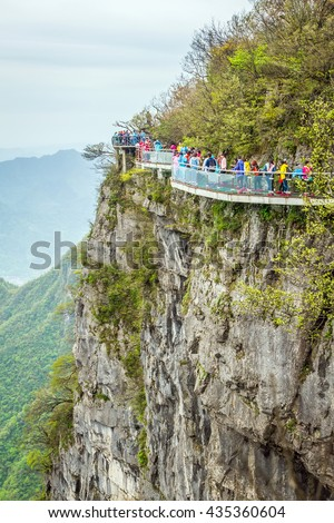2016/04/22, China, the Hunan province, Mount Tianmen Shan, a glass walkway or trail of terror over a cliff