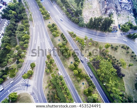 Chinese city of Wuxi, aerial highway - stock photo