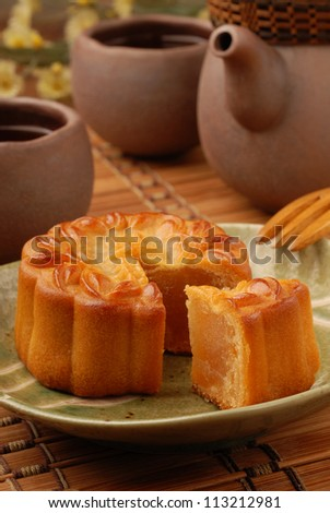 Chinese moon cake -- food for Chinese mid-autumn festival - stock photo