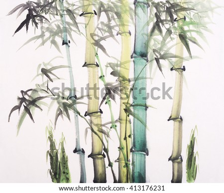 Chinese painting of bamboo - stock photo