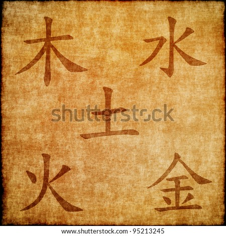 Chinese signs of elements. metal, wood, water, fire, earth - stock photo
