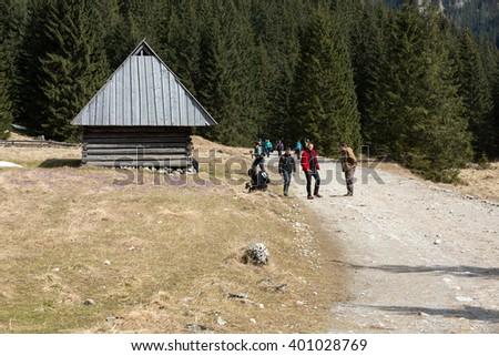 CHOCHOLOWSKA VALLEY, POLAND - MARCH 31, 2015: Tourists walking on hiking path in Chocholowska valley in spring season, Tatra Mountains, Poland - stock photo