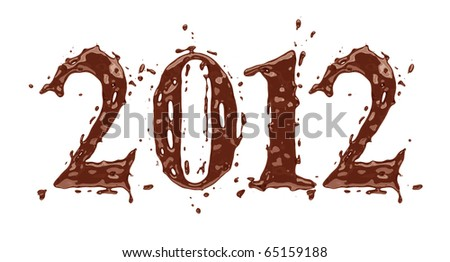 2012 - Chocolate alphabet symbols - stock photo