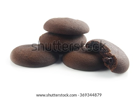 Chocolate Biscuits Isolated on White  - stock photo