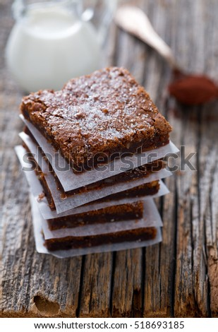 Chocolate Brownie on wooden surface