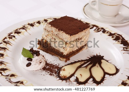 Chocolate cake with custard on the dessert plate.