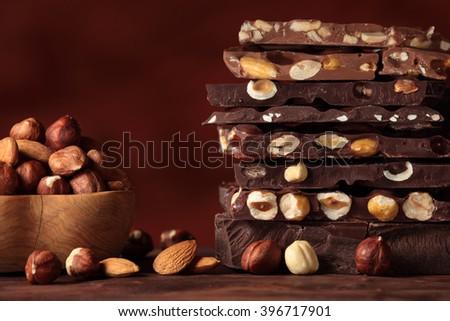 Chocolate / Chocolate bar / chocolate background/ nut chocolate / hazelnut chocolate - stock photo